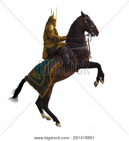 Kazakh Horse Rider In A National Costume On The Horse Isolated On White Background. Clipping Path In