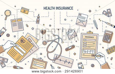 Modern Banner With Hands Filling Out Health Insurance Form And Calculating Healthcare Expenses Surro