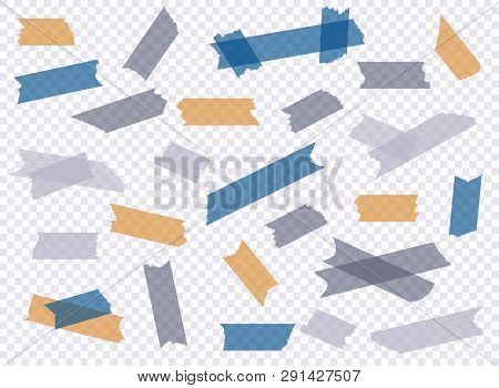 Adhesive Tape. Et Of Accept Or Yes, Cross And Different Size Adhesive Tape Pieces.