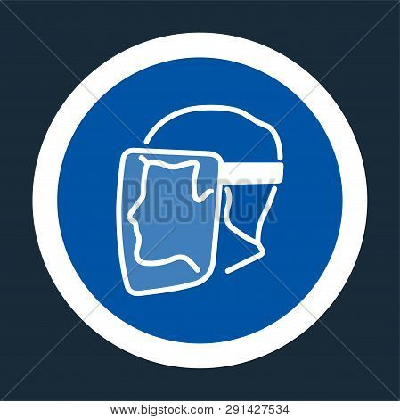 Symbol Face Shield Must Be Worn Sign On Black Background