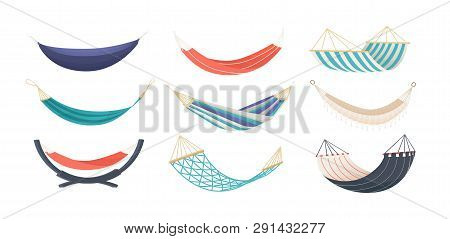 Collection Of Hammocks Of Different Types Isolated On White Background. Bundle Of Tools For Summer R