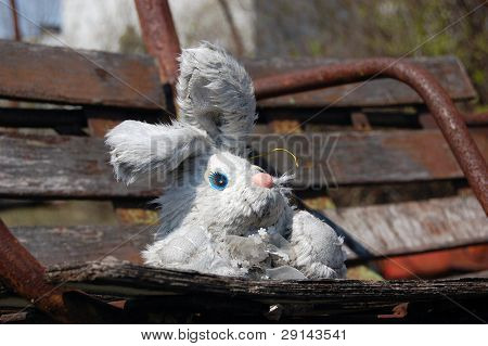 Undelivered kids gift. Chernobyl area. Lost city Pripyat. Modern ruins. City park.Ukraine. Kiev region