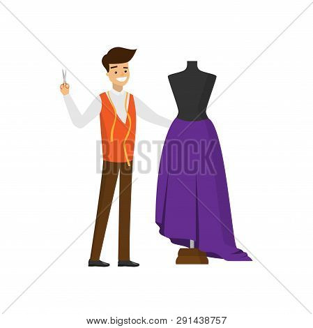 Smiling Tailor With Scissors In One Hand Standing Near Mannequin