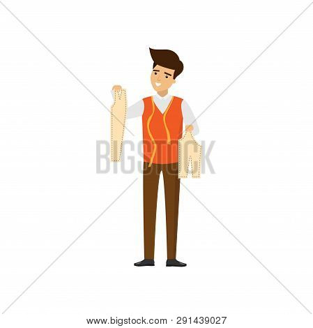 Tailor Standing With Patterns In Hands Isolated On White Background