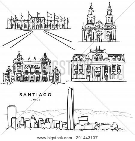 Santiago Chile Famous Architecture Hand Drawn Icons, Black And White Vector Sketch