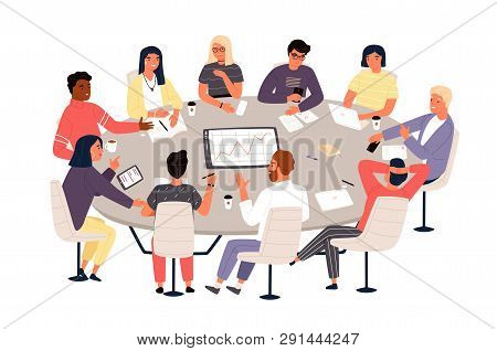 Clerks Or Colleagues Sitting At Round Table And Discussing Ideas Or Brainstorming. Business Meeting,