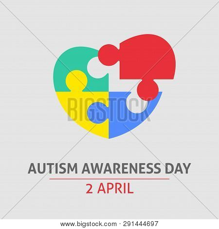 A Square Vector Image With A Puzzle Heart As A Symbol Of Autism Awareness. A World Autism Awareness