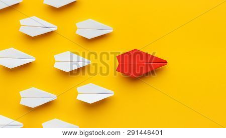 Opinion Leadership. Red Paper Plane Leading Another Colorful Ones, Influencing The Crowd, Yellow Bac