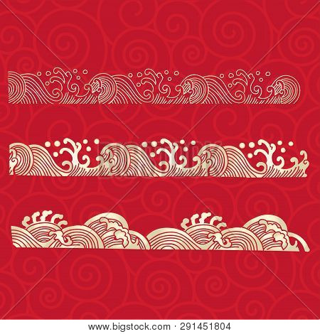 The Japan Gold Element On Red Background