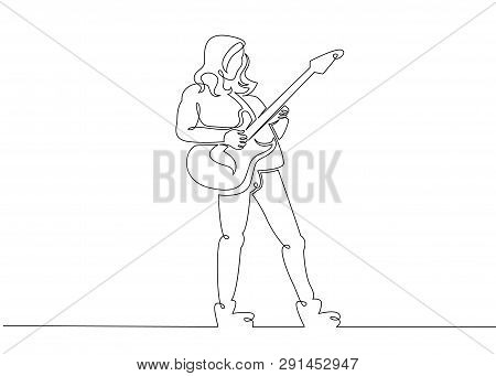 One Continuous Single Drawn Line Art Doodle Man Rock And Roll, Rock Band, Musician Guitarist, Solo G