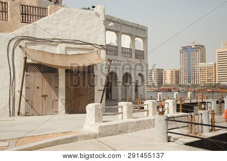 Uae, Dubai - January, 2019: Newly Renovated Al Seef Area In Dubai Old Town. Promenade In Traditional