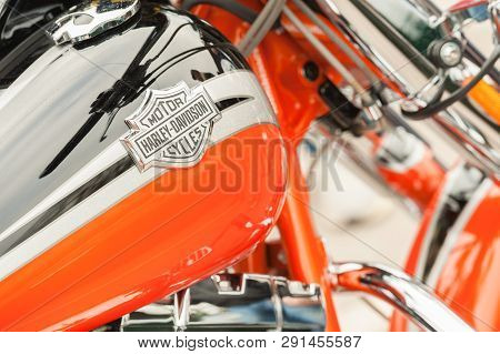 Hook, Uk - January 1:  Close-up Of A Badge On A Harley Davidson Motorcycle In Hook, Uk On January 1,