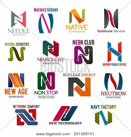 Corporate Identity Letter N Business Icons. Vector Shopping And Education, Service, Beauty And Medic
