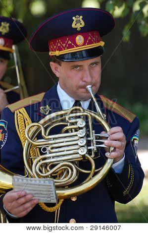 KIEV,UKRAINE- JUNE 21:  Trumpeter. Lost soldiers of WW2 funerals. June 21,2008. Kiev,Ukraine