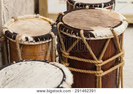 Uae, Dubai - January, 2019: Traditional Arab Drums At Al Seef Walking Street