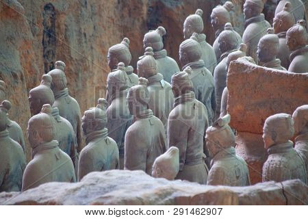 XIAN, CHINA - October 8, 2017: Famous Terracotta Army in Xi'an, China. The mausoleum of Qin Shi Huang,the first Emperor of China contains collection of terracotta sculptures of armored men and horses.