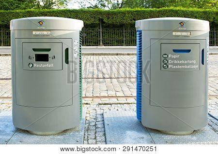 Bergen, Norway - July 18, 2018: Smart Waste Handling In Bergen, Norway