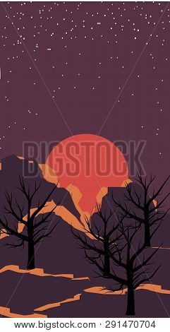 Deep Space. Space Landscape Background. Cosmic Sunset On The Background Of Mountains. Background Tex