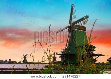 Rural Landscape With Windmill In Zaanse Schans. Holland, Netherlands. Authentic Zaandam Mill. Beauti