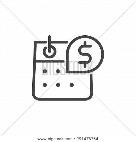 Calendar with Dollar Sign. Day of Salary, Payment, Accrual of Cash Dividends Concept. Time Management Line Sign. Vector Illustration Isolated for Web and App in Outline Style poster