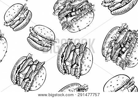 Burgers Seamless Pattern. Hand Drawn Hamburger And French Fries. Fast Food, Junk Food Pattern. Ameri