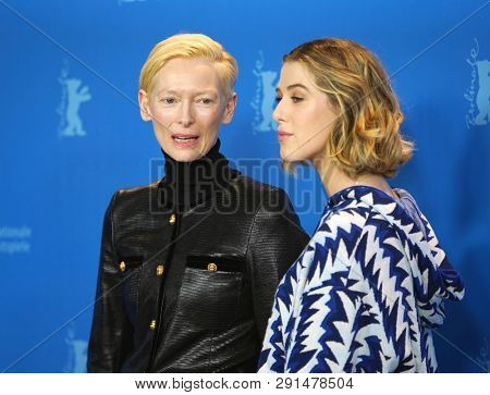 Honor Swinton-Byrne,  Tilda Swinton pose at the 'The Souvenir' photocall during the 69th Berlinale Film Festival Berlin at Grand Hyatt Hotel on February 12, 2019 in Berlin, Germany.