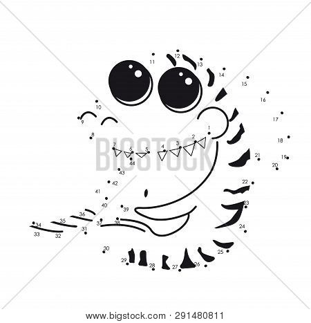 Animal Sea Coloring Book Tiger Shark With Big Eyes. Vector Connect The Dots For Educational Game. Ca