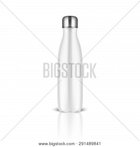 Vector Realistic 3d White Empty Glossy Metal Reusable Water Bottle With Silver Bung Closeup On White