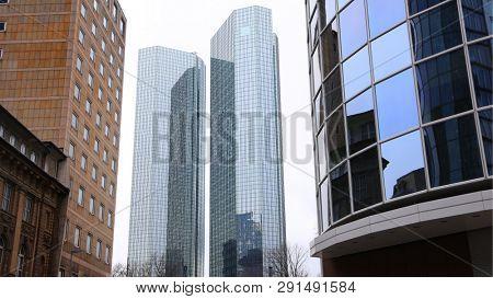 Tall modern buildings in Frankfurt city