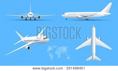Airplanes On Blue Background. Industrial Blueprint Of Airplane. Airliner In Top, Side, Front View. F