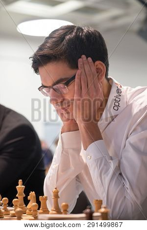 ST. PETERSBURG, RUSSIA - DECEMBER 29, 2018: Grandmaster Anish Giri, Netherlands competes in King Salman World Blitz Chess Championship 2018. Eventually he took 10th place