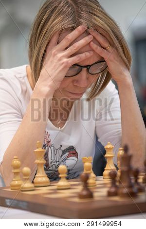 ST. PETERSBURG, RUSSIA - DECEMBER 28, 2018: Grandmaster Pia Cramling, Sweden competes in King Salman World Rapid Chess Championship 2018. Eventually she took 23rd place