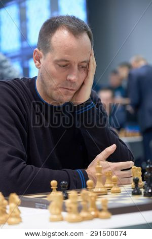ST. PETERSBURG, RUSSIA - DECEMBER 29, 2018: Grandmaster Francisco Vallejo Pons, Spain competes in King Salman World Blitz Chess Championship 2018. Eventually he took 37th place