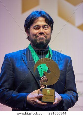 ST. PETERSBURG, RUSSIA - DECEMBER 30, 2018: Grandmaster Hikaru Nakamura, USA during award ceremony of World Rapid and Blitz Chess Championships 2018. Naramura won bronze in both tournaments