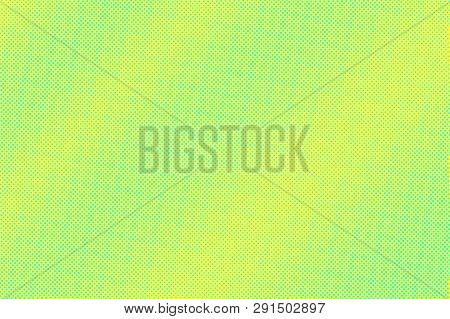 Yellow Green Color Halftone Vector Background. Micro Halftone Texture. Frequent Dotwork Gradient. Vi