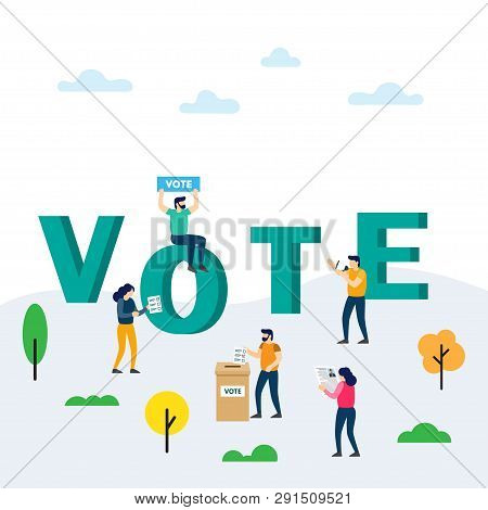 Voting And Election Concept. Voting Box And Voters Making Decisions. People Are Putting Their Ballot