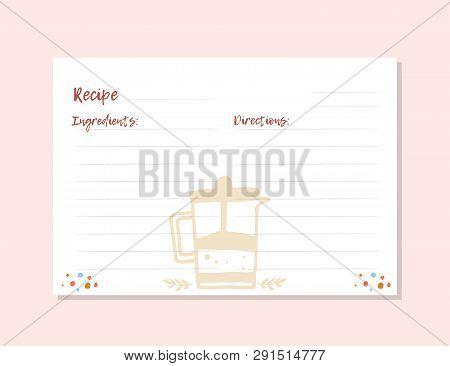 Modern Recipe Card Template For Instant Print Cookbook. A4 Format. Menu Creator Vector Illustration.