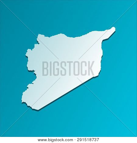 Vector Isolated Illustration Icon With Simplified Map Of Syrian Arab Republic (syria). Blue Silhouet