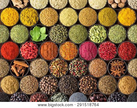 Bright Spice Background, Top View. Collection  Seasoning And Herbs Of Indian Food. Spices And Herbs