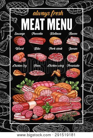 Butchery Meat Products And Butcher Shop Sausages Menu. Vector Grocery Store Sketch Pancetta, Kielbas