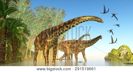 Spinophorosaurus Dinosaur Marsh 3d Illustration - Dorygnathus Reptile Birds Fly Close To A Spinophor