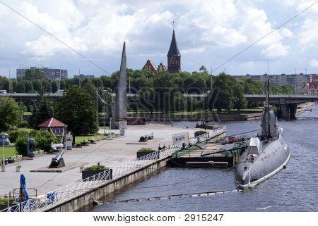 Submarine on the river in Kenigsberg