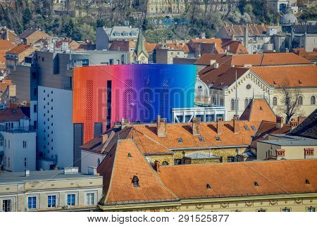 Zagreb, Croatia - March 22, 2019: Panorama Of The City Center With The Academy Of Music Vibrant Faca