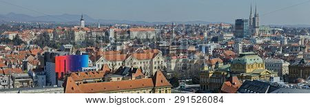 Zagreb, Croatia - March 22, 2019: Big Panorama Of The City Center With A View To The Upper Town, Cat