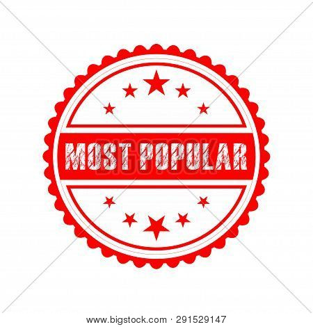 Most Popular White Grunge White Red Round On White Background Vintage Rubber Stamp.most Popular Stam