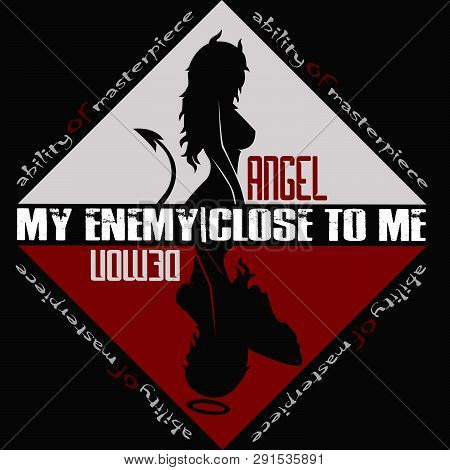 angel and demon girls red black my enemy close to me poster