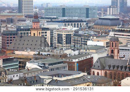 Frankfurt, Germany - March 17 , 2018 -Frankfurt am Main , Germany aerial view