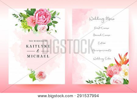 Stylish Coral Watercolor And Flowers Vector Design Cards. Wedding Invitation With Fuchsia Pink Rose,
