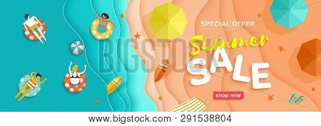 Summer Sale Seasonal Horizontal Banner With Beach, Sea Waves, Sand, Bathing And Playing Beach Volley