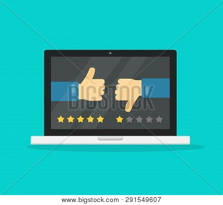 Feedback Online Or Review On Computer Laptop Concept Vector Illustration, Flat Cartoon Pc With Votin